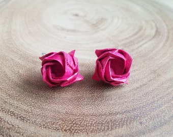 Pink Origami Rose Earrings, Origami Jewelry, Rose Flower Earrings, Asian Japanese Earrings, Lolita Jewelry, Harajuku Geisha Earrings