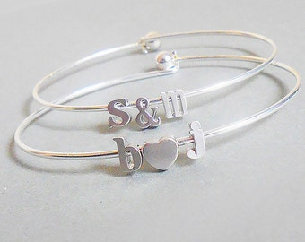 Build Your Own initial bangle Bracelet  Personalized Custom Initial bangle letter Bracelet Jewelry monogram mom girlfriend bridesmaid gift