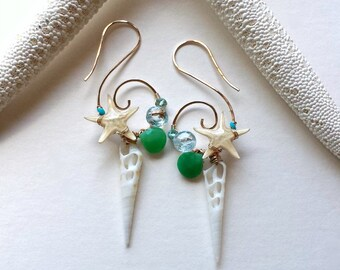 Starfish Beach Hoops, Real Starfish Earrings, Blue Green Spiral Hoops, Koru Hoop Earrings, Sea Shell Hoops:  Ready to Ship