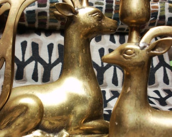 Brass Deer Art Deco Reindeer Caribou Candlesticks Vintage Stylized DEER Candle Holders