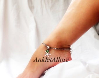 Across The Sea Starfish Anklet Dangle Ankle Bracelet Green Crystal Body Jewelry