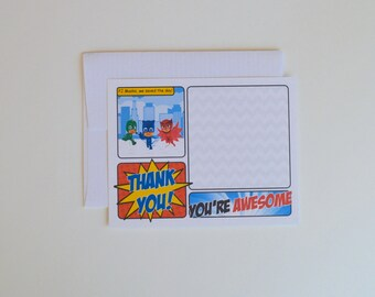 PJ Masks printed thank you cards, comic starburst, thanks cards and envelopes, comic book thank you, superhero thank you, pj masks birthday