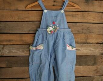 Vintage Little Girls Blue & Pink Floral Romper Size 4t