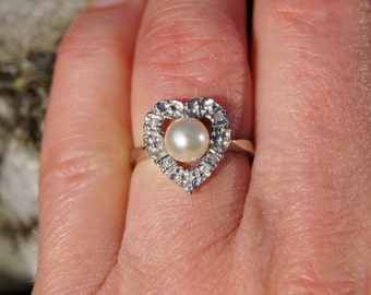 1960's Heart Shaped 14K White Gold, Pearl and Diamond Ring