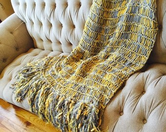 Yellow Gray Wedding Gift for Couples Throw Blanket Afghan Blanket Yellow Gray Decor Gray and Yellow Decor Sofa Throw