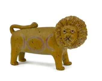 Lion Sculpture, Alfaraz Pottery, Mid Century Pottery, Made in Spain, Signed, Vintage Ceramic Lion, Art & Collectibles, 1950s
