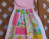 "Easter Kitchen Tea Towel ""Hoppy Easter"" Egg and Rabbit Easter Hanging Dish Towel LAST ONES Easter Kitchen Towels SnowNoseCrafts"