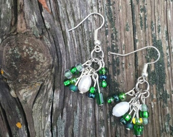 Deep Green with Freshwater Pearl Cluster Earrings