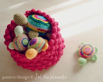 Basket crochet pattern Nest PDF- PHOTO tutorial - bubble crochet baskets recipe for any side  you prefer - Instant DOWNLOAD