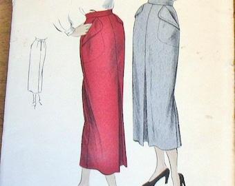 Vintage 1940s Unprinted Sewing Pattern Vogue 6741 Slim Pencil Skirt, Shaped Hip Pockets, Front Pleat Womens Misses Waist 24 Hip 33 Complete