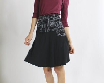 Medium Size ON SALE black A line Skirt Fit and Flare Asymmetrical color block above the knee skirt gray Cross Hatch skirt flare skirt