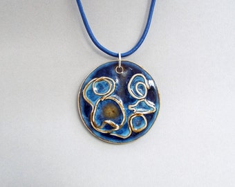 Ceramic Necklace, Statement Necklace, Ceramic Jewelry, Leather Jewelry