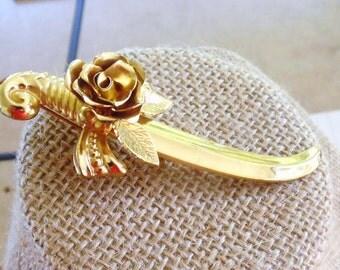 Sword Brooch, Signed Coro with Pegasus Brooch, Vintage Brooch, Rose Sword Brooch, Gifts for Her, Gold Tone Brooch, Coro Brooch, 8013