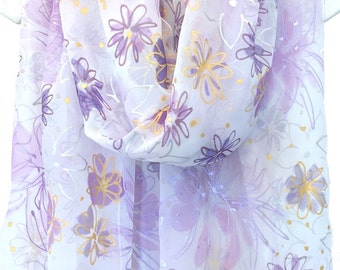 Chiffon scarf, Oversized scarf, Spring wedding scarf, Silk wedding shawl, Ivory evening shawl, Purple & Gold Wildflowers, Takuyo, 22x90 inch