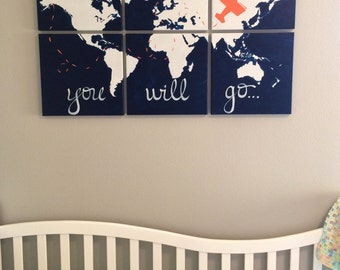 orange, white, navy. oh the places you will go. 6 - 12x12's world map on canvas . 3'x2' personalized, custom nursery decor.  sincerelyyou