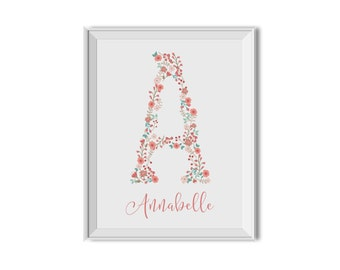 Floral Letter with Name, Monogram Flowers Letter, Pink Mint Nursery Decor, Flowers, Monogram, Baby's Name, Nursery Art, Floral Nursery Decor
