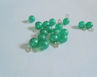 Green Pastel Transprent Glass Dangle Beads