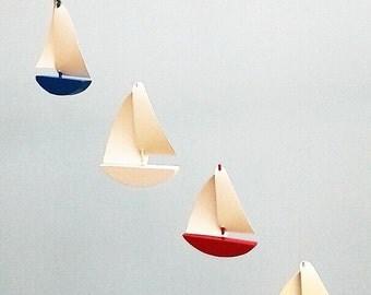 Sailboat Mobile,C1*,Multi Painted Wood,Vinyl Sails,Baby Mobile,Sailboat,Nautical,Baby Nursery,Kid Mobile,Boat Mobile,Ocean Art,Boat,Mobile