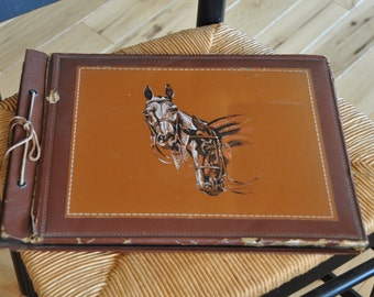 Antique Faux Leather Photo Book Album ~ 1940's  with OLD photos ~ Horses & Leather Tied Binding