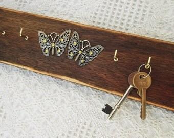 Butterfly Decor, Key Hooks, Jewelery Holder, Wooden Key Rack, Rustic Decor, Organizer , Butterflies