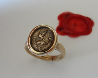 Wax Seal Ring Strength Over The Enemy - antique wax seal jewelry with bird and Latin motto Bravery Courage by RQP Studio