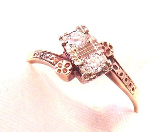 Antique 14K Diamond Ring, Early 1900's, Yellow,White,RoseGold, Engagement, Wedding, Free Shipping
