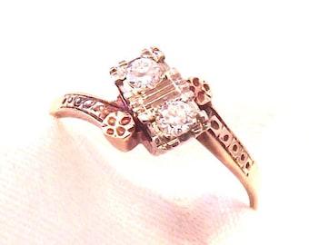 Antique 14K Diamond Wedding Engagement Ring/Early 1900's/Yellow,White,RoseGold