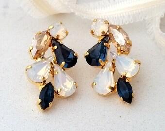 Bridal earrings,navy blue champagne white opal earrings,stud earrings,Cluster earring,chandelier earring,bridal earrings,bridesmaid earrings