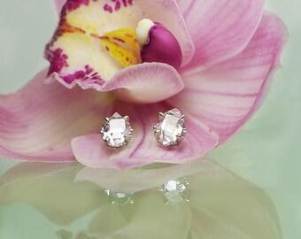 Gold Raw Crystal Earrings, Herkimer Diamond, Herkimer Diamond Earrings, Crystal Earrings, 14k White Gold Studs.