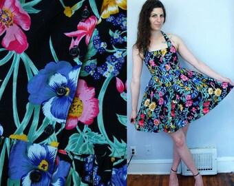 1990s 1980s Vintage Black Floral Flower Print Halter Top Mini Dress / Button-Front Summer Garden Tea Party Dress Full Skirt / Small Medium
