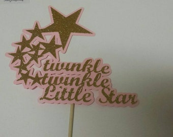 Princess 1st birthday Twinkle Twinkle Little Star Script Cake Topper Your choice of Colors
