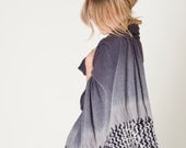 Poncho scarf Ombre gray, Macrame tribal Shawl, Organic Natural Textured Eco Fashion Woman Wrap,  Luxury Accessory, Shibori scarf boho layers