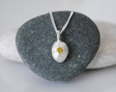 Diamond pendant necklace, fancy yellow diamond necklace, recycled silver pebble pendant, genuine 0.1ct diamond, eco friendly, conflict free
