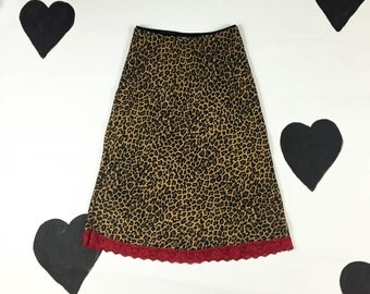 90s Cheetah Print Slip Skirt With Red Lace Hem / Midi / Leopard / Grunge / Clueless / Medium / Sabrina / Spice Girls / Lingerie /
