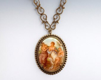 Filigree Cameo Necklace, Roman Picture Necklace, Nickel Free Brass Filigree Necklace, Art Cameo Jewelry, Roman Painting Necklace, Elian