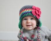 baby girls hat, baby hat, rainbow hat, girls rainbow hat, girls hat, little girls hat, crochet girl hat, kids hat, crochet kids hat