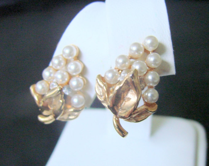 Pearl Rhinestone Designer Signed Floral Clip Earrings / Wedding / Ardan Jewelry Presentation Box / Vintage Jewelry / Jewellery