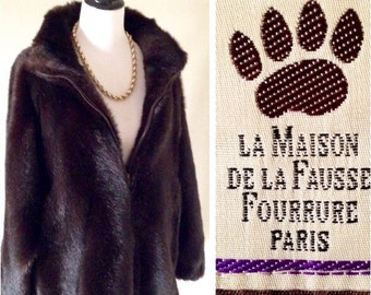 VINTAGE La Maison De La Fausse Fourrure (Paris, France) Faux Fur Coat Dark Brown Women's Size L/XL Excellent Condition Made in FRANCE