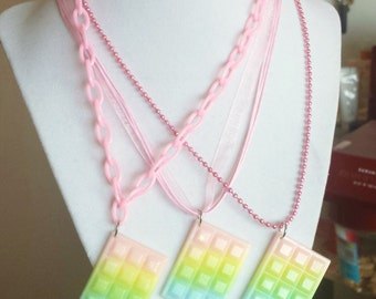 Kawaii Pastel Rainbow Glitter Chocolate Necklace