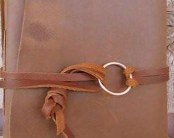 Chocolate Brown Handmade Heirloom Leather Journal W/Stainless Steel Ring