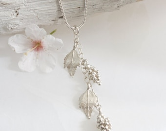 Silver Grapevine Necklace-Silver grape necklace-woodland necklace-gift for her-elegant silver necklace