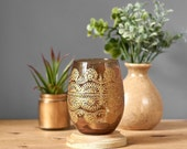 Moroccan Home Decor, Amber Glass Container for your Rustic Boho Tabletop, Golden Mehndi Design, Eclectic Housewarming Gift or Hostess Gift