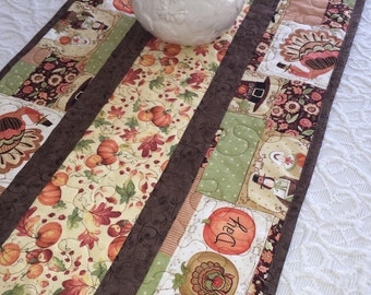 Thanksgiving Fall Table Runner Quilt - Brown - Orange - Pilgrims - Turkey - Pumpkins