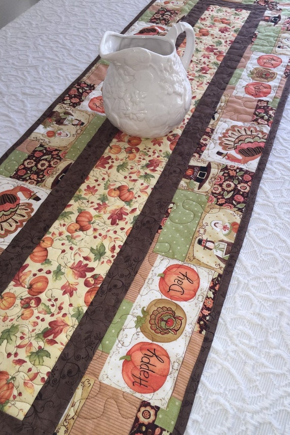 Thanksgiving Quilted Table Runner Patterns : Thanksgiving Fall Table Runner Quilt Brown Orange by KeriQuilts