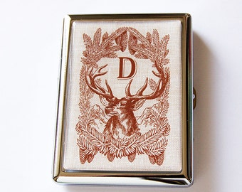 Monogram cigarette case, Cigarette Case, Cigarette box, Gift for him, gift for hunter, Deer, Monogram, Fathers Day, gift for dad (5747C)