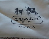 "Coach Dust Cover Bag Silky Drawstring Coach Storage for large purse 19"" x 15"" Coach Mint condition from Estate Sale FREE Shipping"