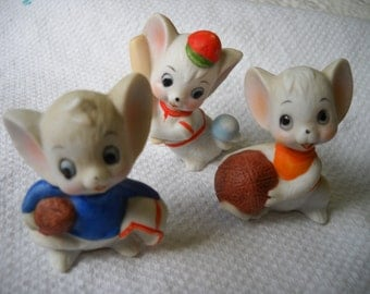 Vintage Mouse Figurines, Mice Playing, Baseball, Football and Basketball Mouse Figurines, Ceramic Animal, Nursery Decor, Miniature mouse
