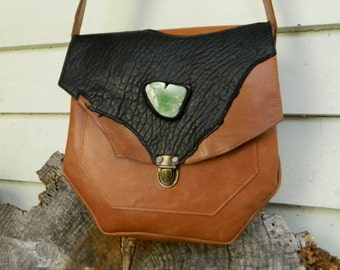 Leather Satchel Tan Brown and Black Leather Handbag with Lemon Chrysoprase and Push Button Closure by Ariom Designs