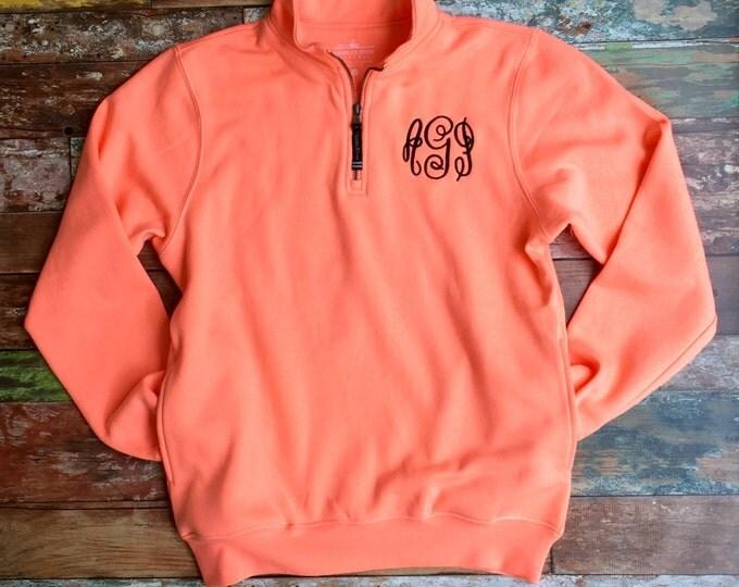 Monogram Sweatshirt- Monogram Quarter Zip Pullover - Monogrammed Sweater - Monogrammed Quarter Zip - Charles River Quarter Zip Pullover