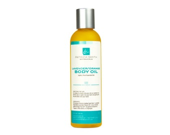 Lavender/Orange Body Oil - 4 oz. Organic Ingredients. Daily Body Moisture. Cruelty-Free Skincare, certified by Leaping Bunny.